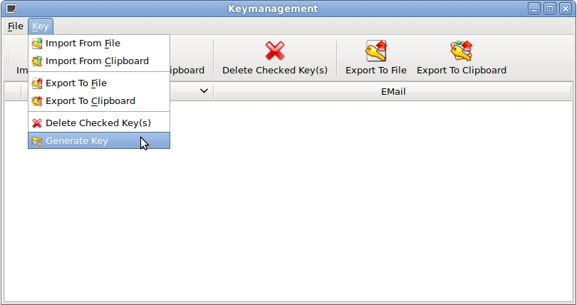 open generate key dialog