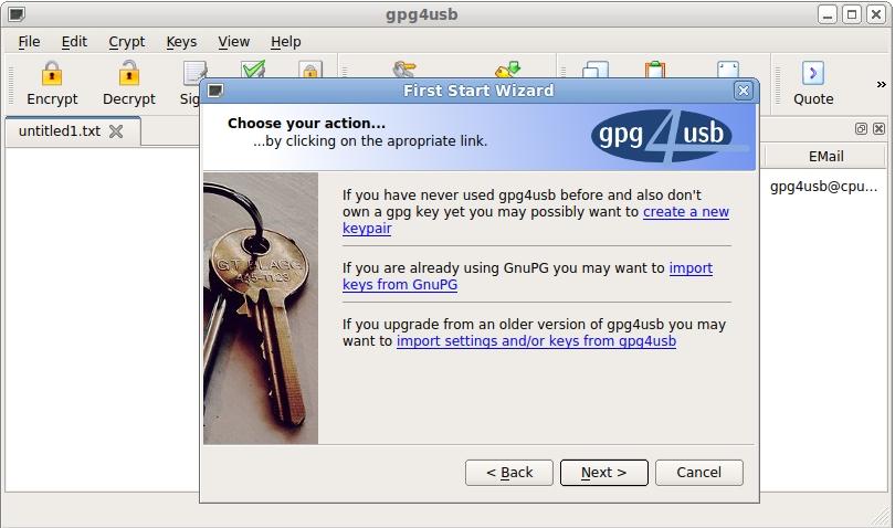 gpg4usb full screenshot
